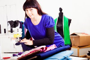 Fashion Designer In Her Studio