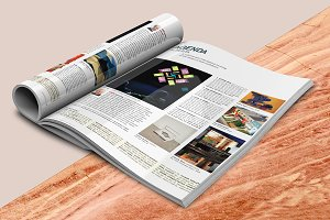 Open and Folded Magazine PSD Mockup