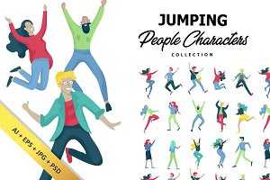 Jumping & dancing people characters