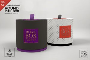 Round Pull Box Packaging Mockup