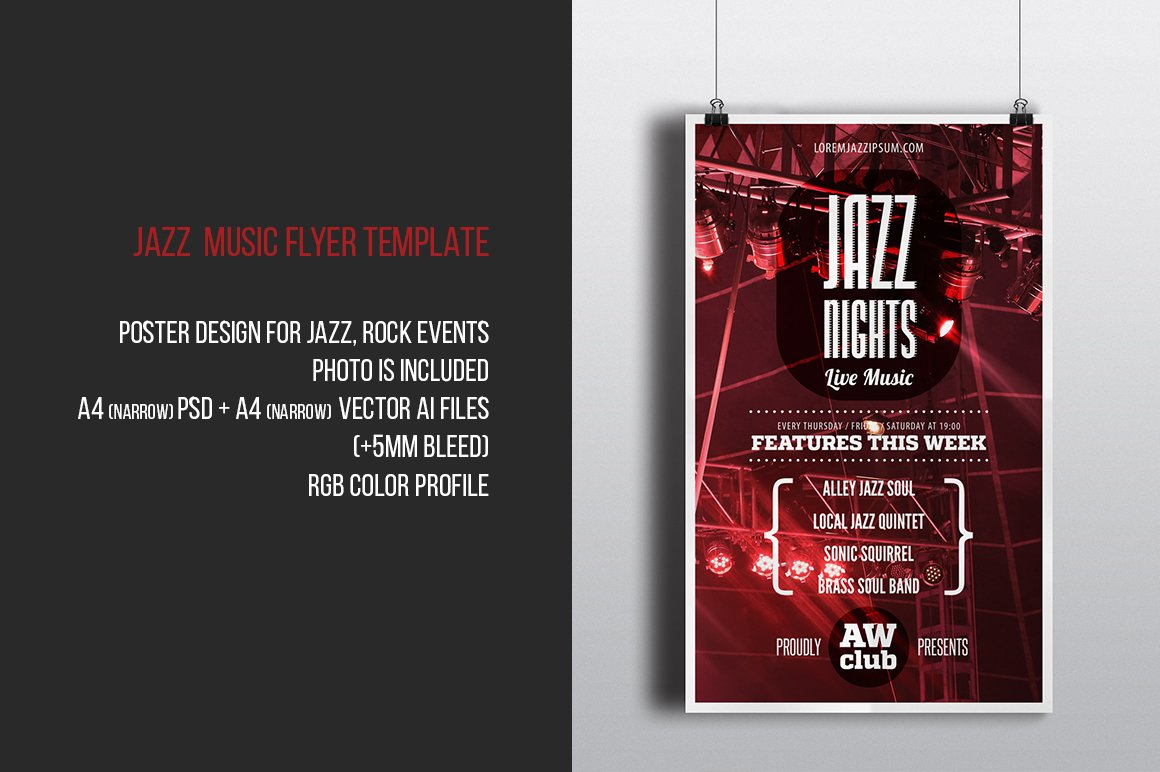 Jazz Nights Music Flyer Template Flyer Templates Creative Market