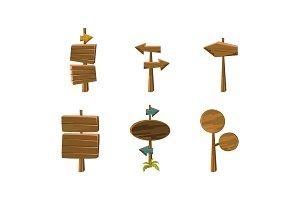 Flat vector set of wooden arrows