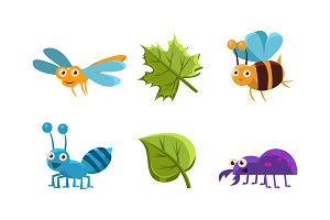 Flat vector set of funny insects