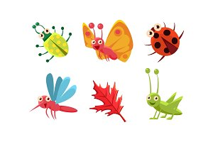 Flat vector set of cute insects and