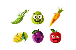 Flat vector set of humanized fruits