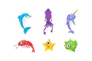 Flat vector set of marine creatures