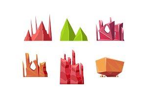 Flat vector set of stones of