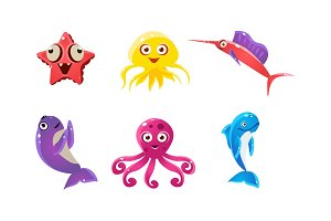 Flat vector set of marine animals