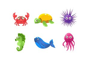 Set of cartoon sea creatures with