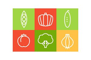 Vector set of vegetables in linear
