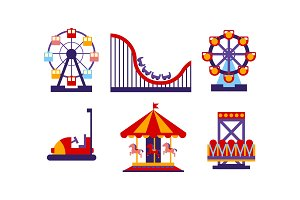 Flat vector set of amusement park