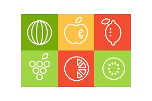 Vector set of different fruits in