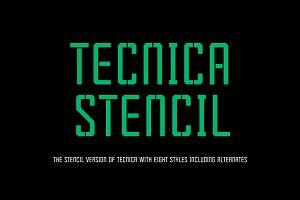 Tecnica Stencil Font Family