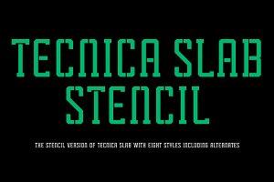 Tecnica Slab Stencil Font Family