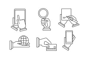 Set of 6 linear business icons