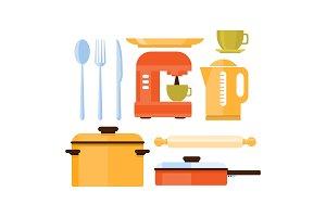 Flat vector set of kitchen utensils
