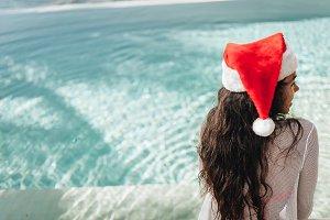 Beautiful Woman in santa's hat