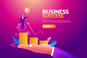 Success concept. Businessman holding