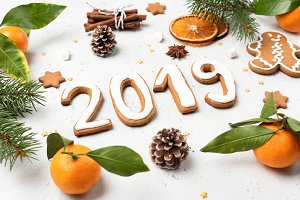 Christmas New Year 2019 flat lay