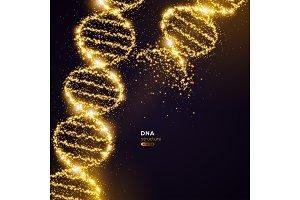 Gold DNA on Black Background