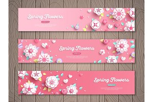 Banners with white paper flowers