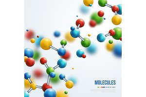 Colorful 3d molecules