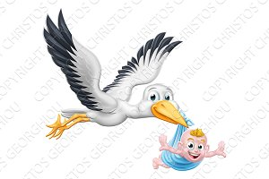 Stork Cartoon Pregnancy Myth Bird