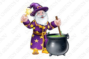 Wizard with Wand and Cauldron