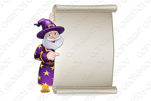 Wizard Cartoon Scroll Sign Banner