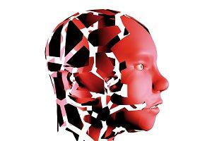 human head red abd broken on pieces