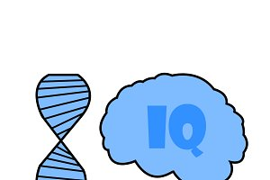 iq illustration by dna and brain