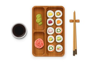 Set sushi rolls with various