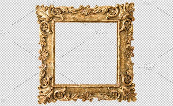 Antique golden frame PNG ~ Graphic Objects ~ Creative Market