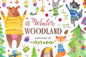Winter Woodland Watercolor Clipart