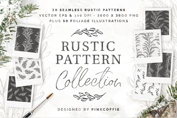 Graphics: Pink Coffie - Rustic Patterns +58 Illustrations