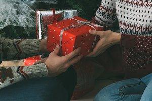 Christmas presents under the fir tre