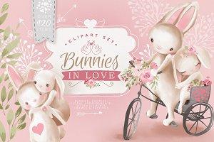 Bunnies In Love Clipart Set