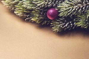 Christmas tree branches with ornamen