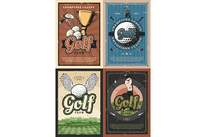 Golf school club players posters