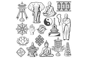 Buddhism signs and vector symbols