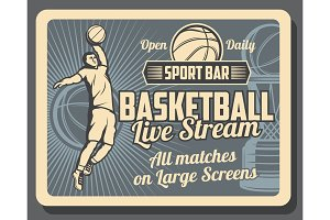 Sport bar poster of basketball game