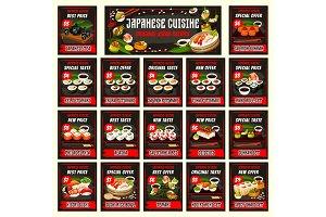 Futomaki, unagi, sushi and rolls