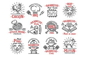 Meat products icons, steak, barbeque
