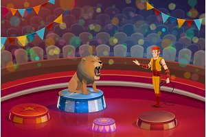 Lion and handler on circus stage