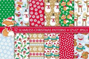 Cute Christmas Animals Digital Paper