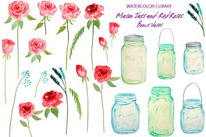 Watercolor Mason Jars Red Roses