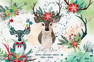 Jolly Deer Christmas Graphic Set