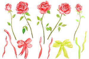 Watercolor Red Roses with Stems