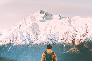 Man traveler walking alone