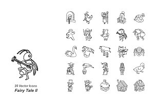 Fairy Tale II outlines vector icons